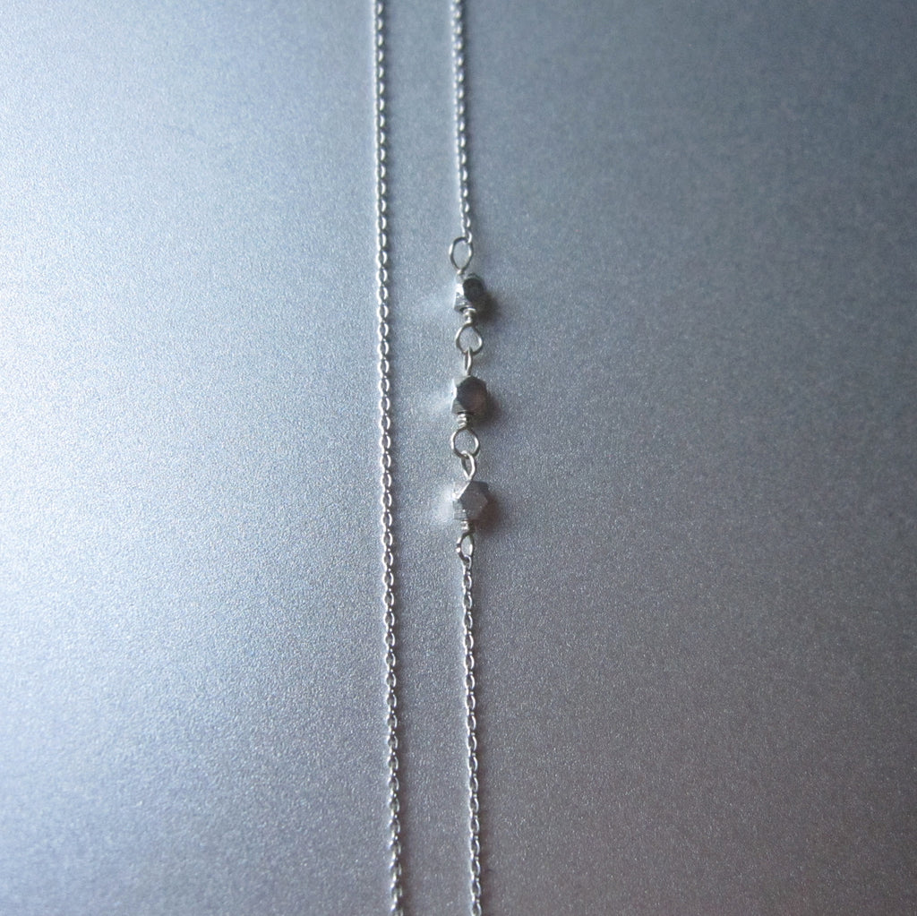 long blue kaynite drop solid 14k white gold necklace5