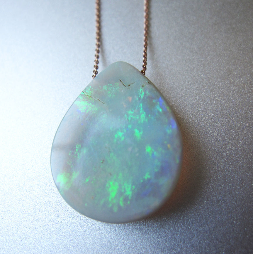 Solid Australian Raw Opal Drop Solid 14k Rose Gold Necklace