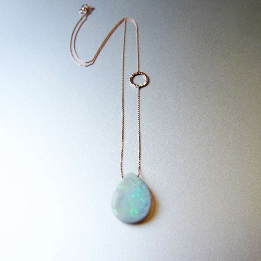 Solid Australian Raw Opal Drop Solid 14k Rose Gold Necklace2
