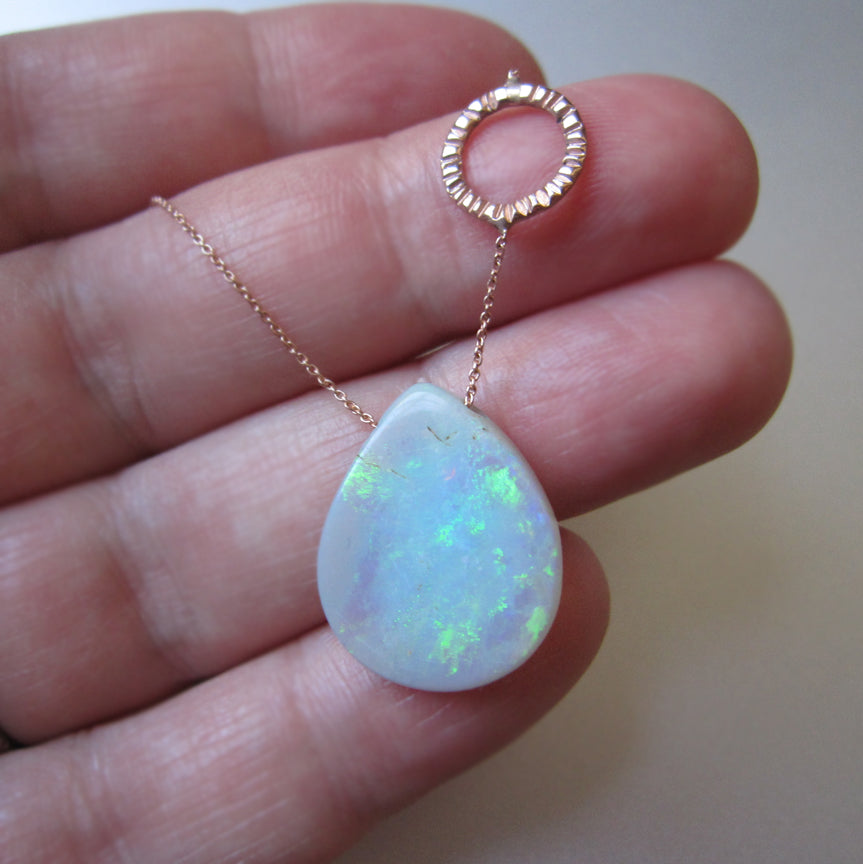 Solid Australian Raw Opal Drop Solid 14k Rose Gold Necklace3