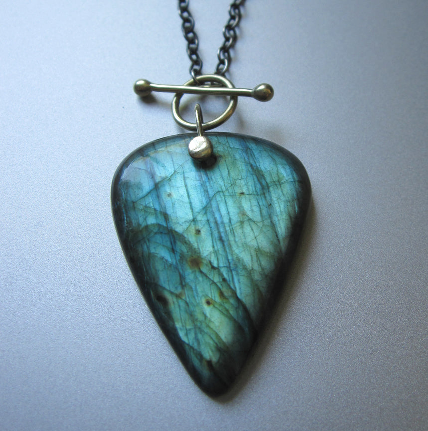 Large Labradorite Drop Solid 14k Green Gold and Sterling Silver Toggle Necklace