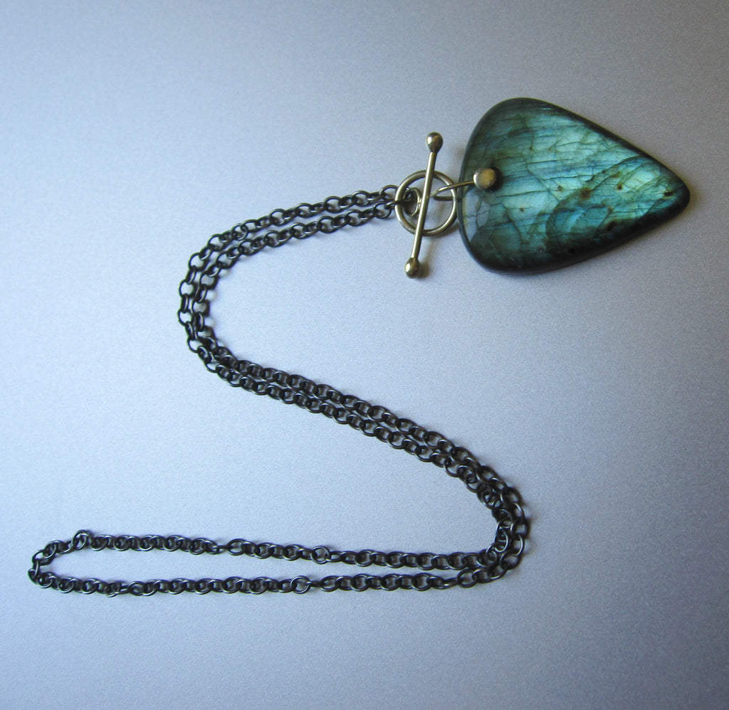Large Labradorite Drop Solid 14k Green Gold and Sterling Silver Toggle Necklace2