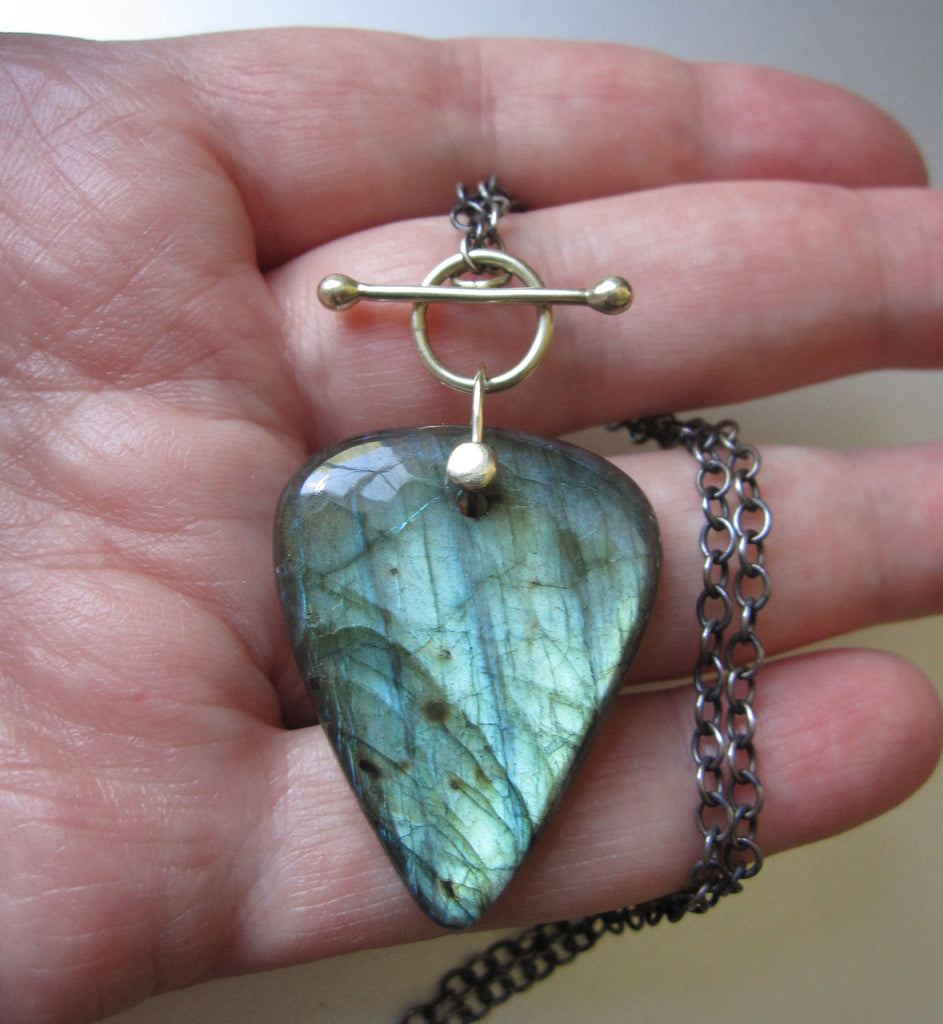 Large Labradorite Drop Solid 14k Green Gold and Sterling Silver Toggle Necklace4