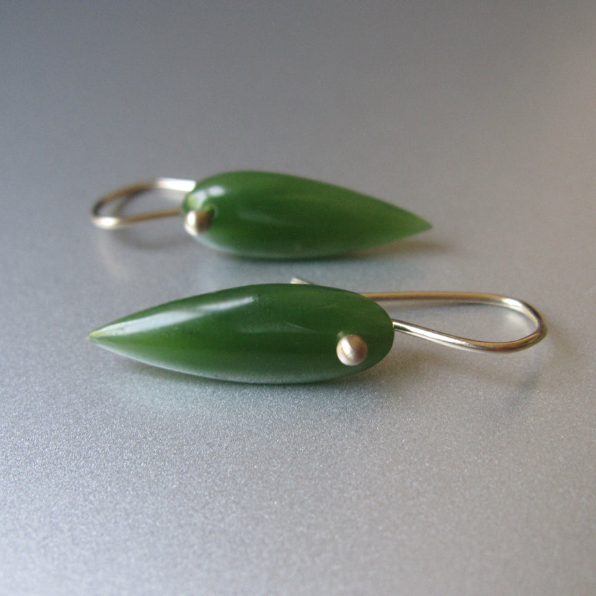 Green Nephrite Canadian Jade Pointed Drops Solid 14k Gold Earrings3