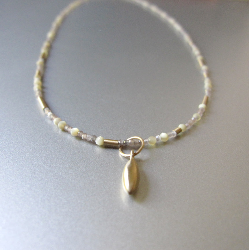 Tiny Seed Bead Warm Moonstone and Mother of Pearl Solid 14k Gold Necklace2