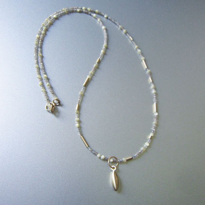 Tiny Seed Bead Warm Moonstone and Mother of Pearl Solid 14k Gold Necklace4