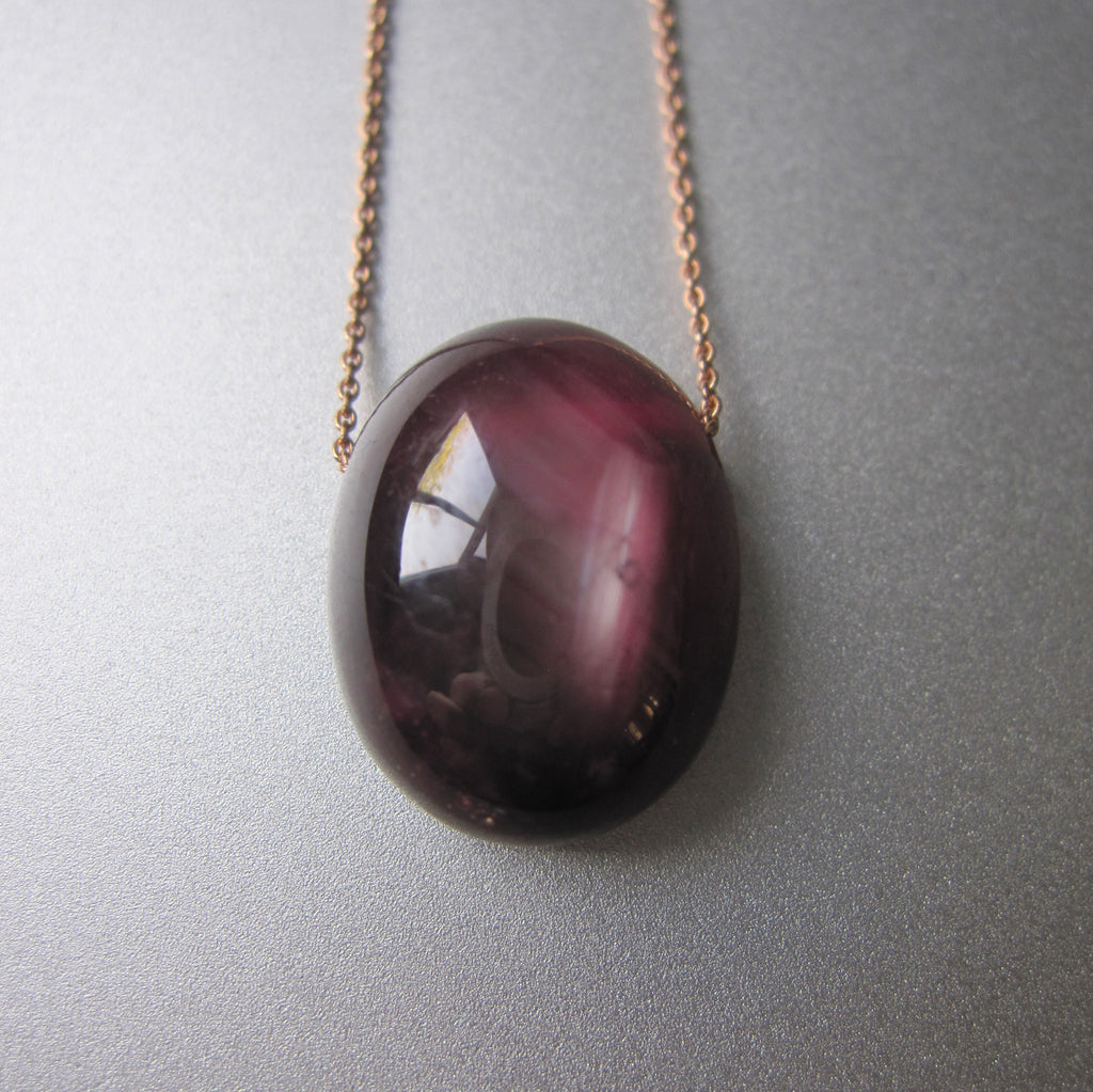 ruby oval pendant solid 14k rose gold necklace2