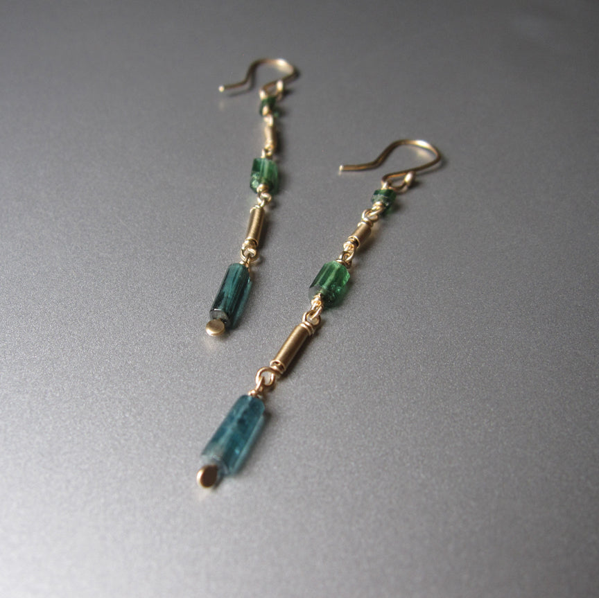 Blue Green Indicolite Tourmaline Crystal Solid 14k Gold Earrings