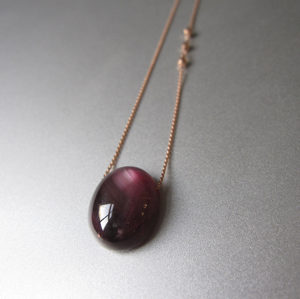 ruby oval pendant solid 14k rose gold necklace3