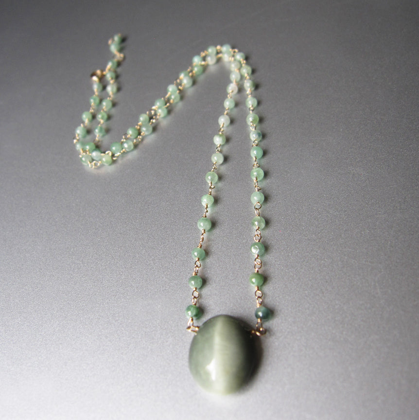 Green Cats Eye Quartz and Tourmaline Solid 14k Gold Necklace