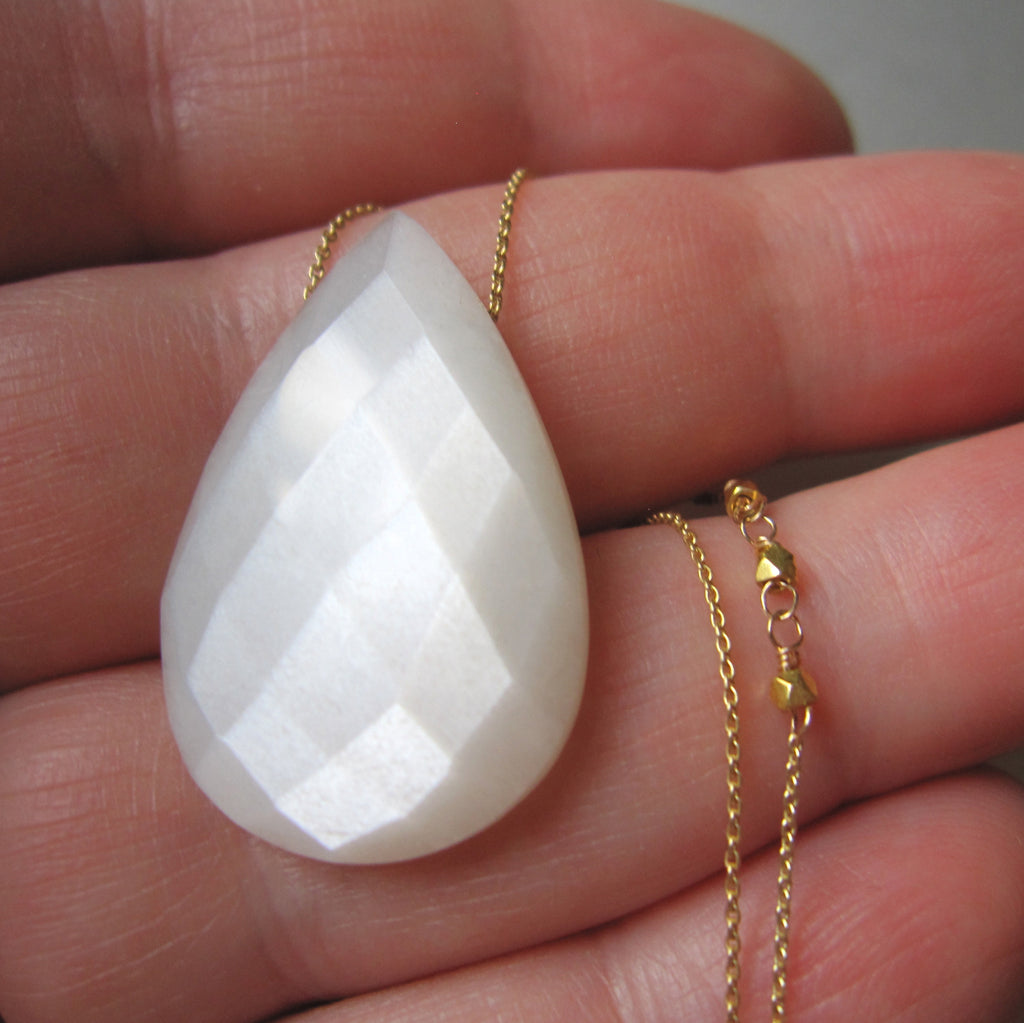 white moonstone drop solid 14k and 18k gold necklace