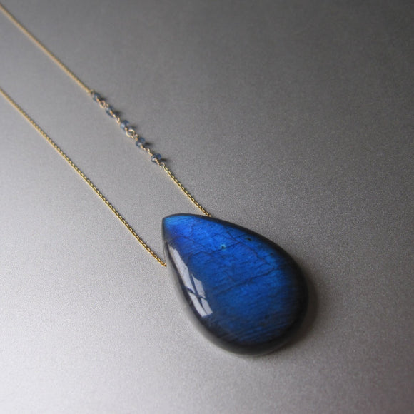 large blue labradorite drop sapphire accented solid 14k gold necklace