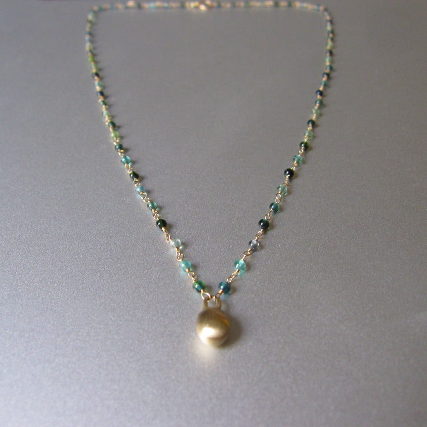 indicolite blue green tourmaline seed bead necklace with large gold drop solid 14k gold necklace3