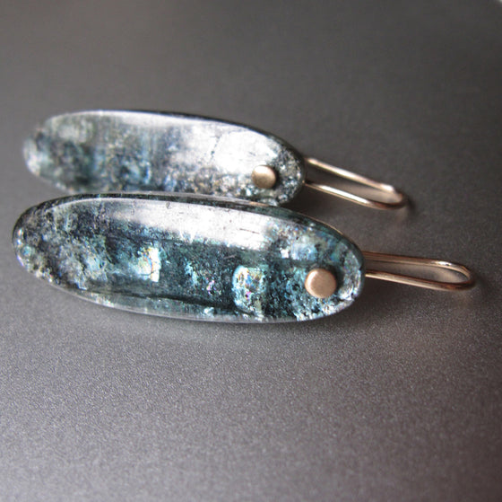 long mossy teal kyanite drops solid 14k gold earrings
