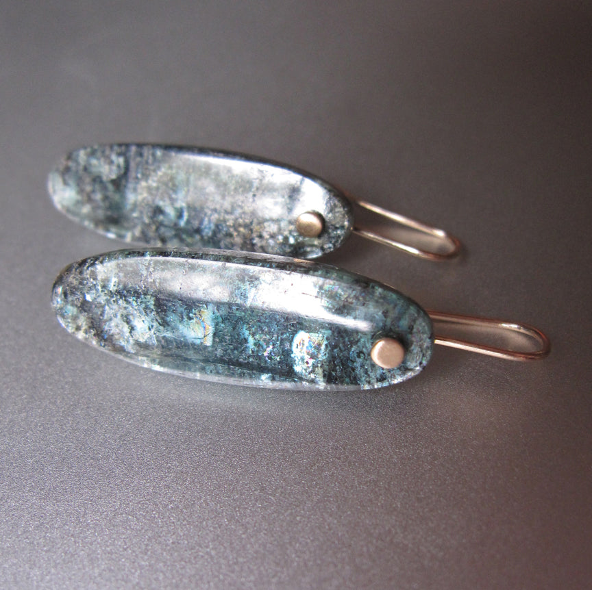 long mossy teal kyanite drops solid 14k gold earrings2