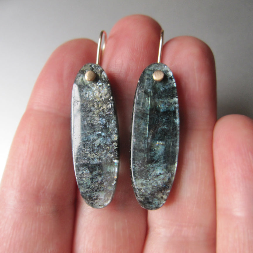 long mossy teal kyanite drops solid 14k gold earrings4