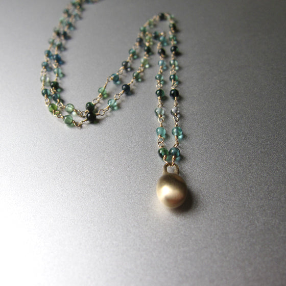 indicolite blue green tourmaline seed bead necklace with large gold drop solid 14k gold necklace