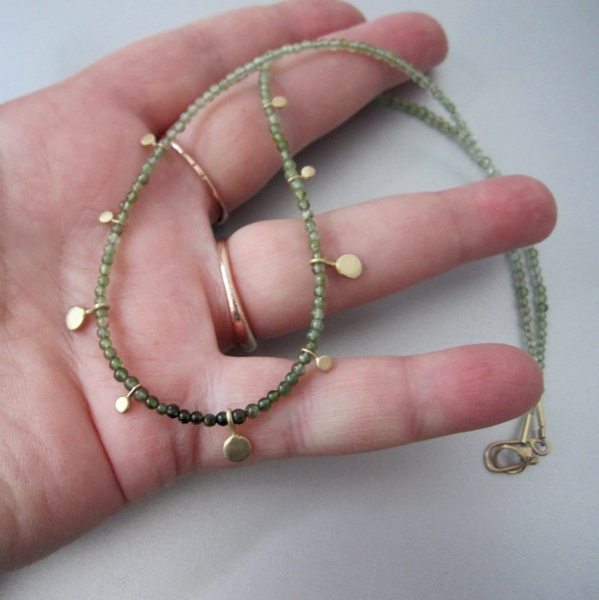 Green Tourmaline Seed Bead Gold Discs Solid 14k Gold Necklace