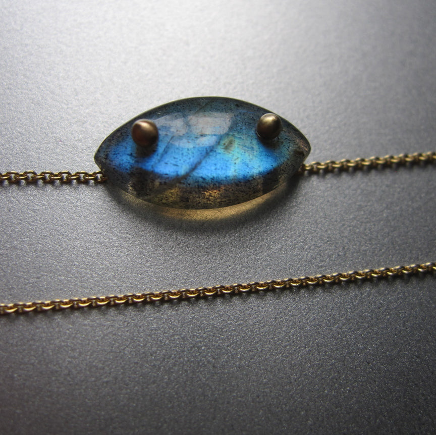 large blue labradorite drop with side stone accent solid 14k gold necklace4