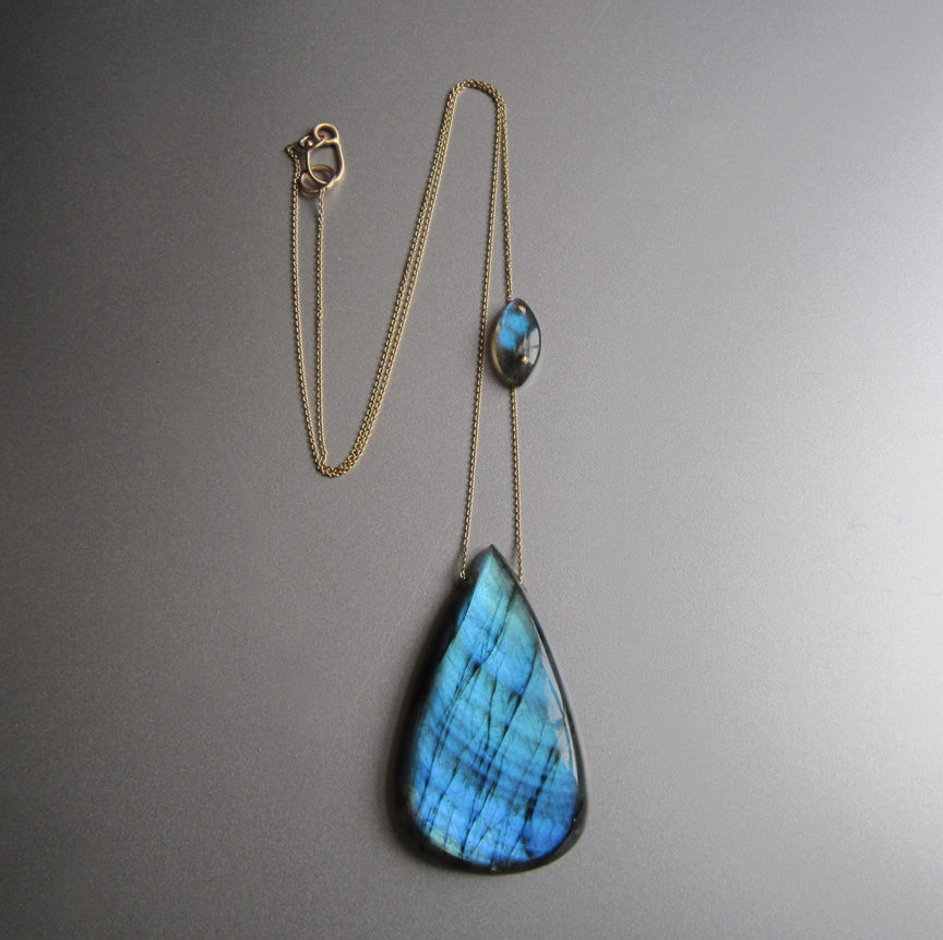 large blue labradorite drop with side stone accent solid 14k gold necklace2