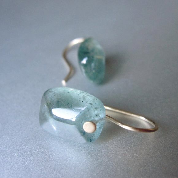smooth moss aquamarine cushion drops solid 14k gold earrings