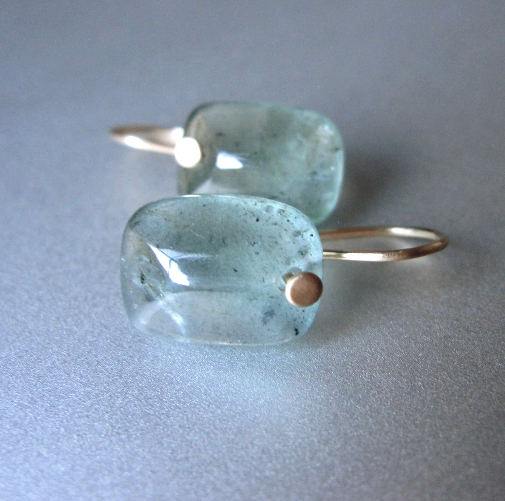 smooth moss aquamarine cushion drops solid 14k gold earrings4