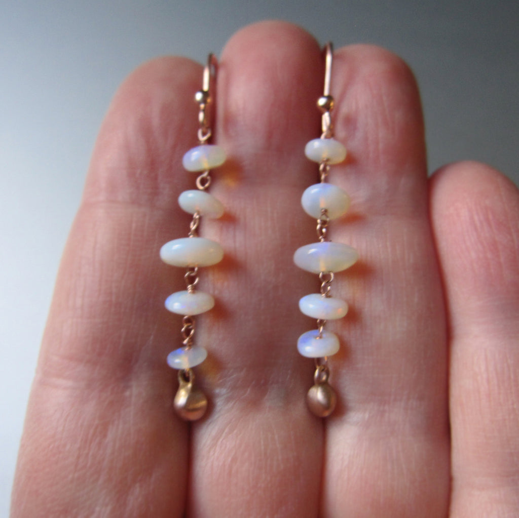 australian opal long beaded solid 14k rose gold earrings4