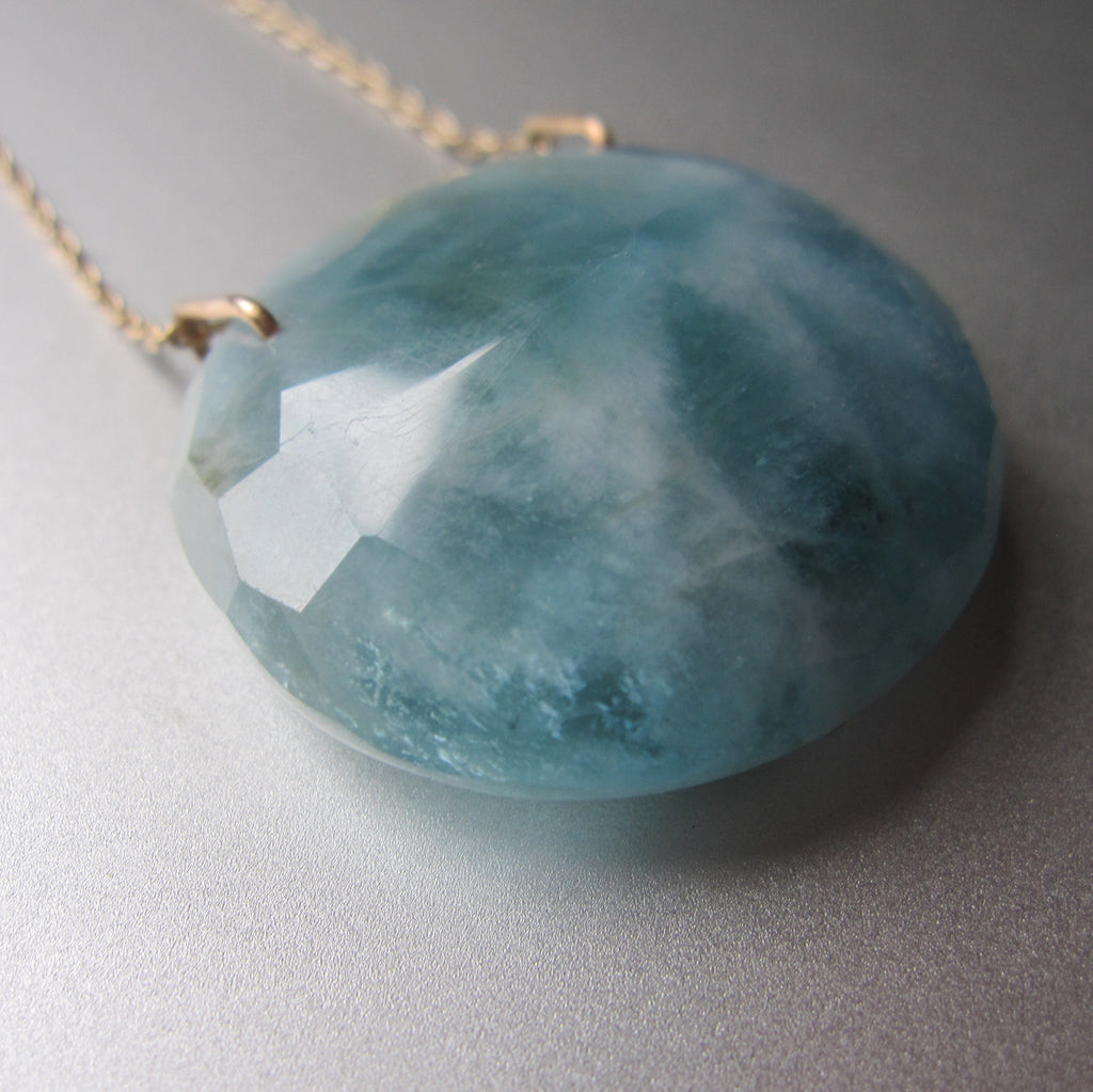 large natural aquamarine pendant solid 14k gold necklace3