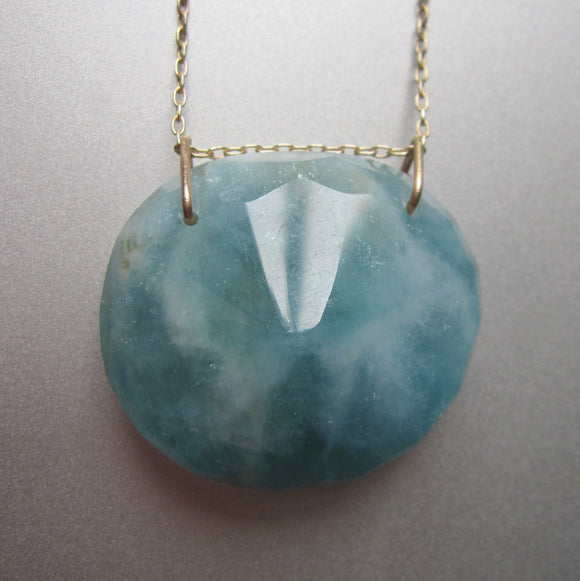 large natural aquamarine pendant solid 14k gold necklace