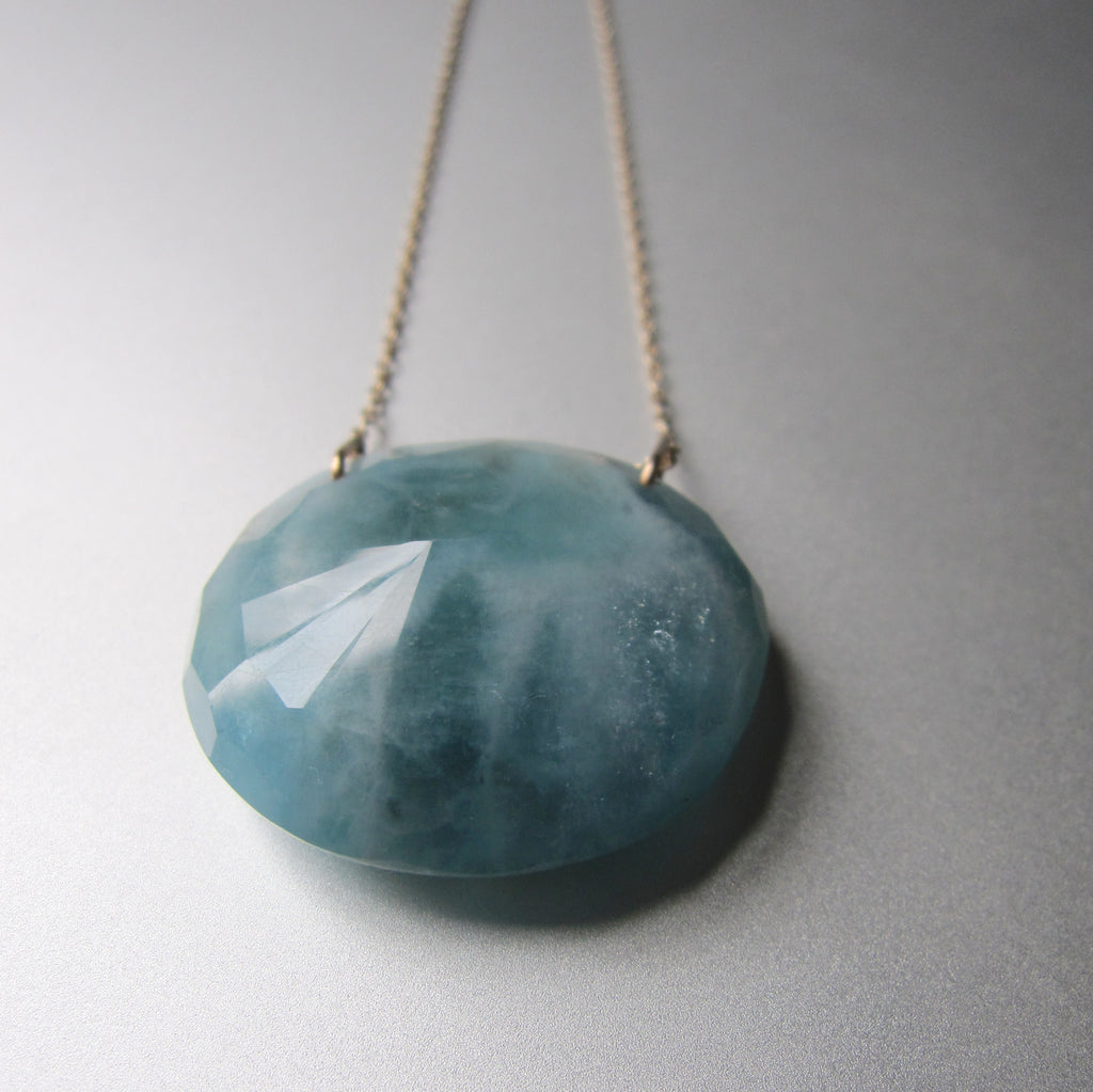 large natural aquamarine pendant solid 14k gold necklace4