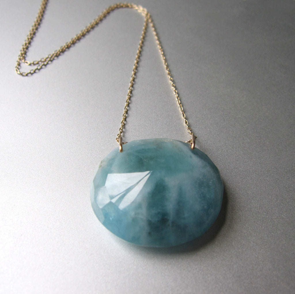 large natural aquamarine pendant solid 14k gold necklace5