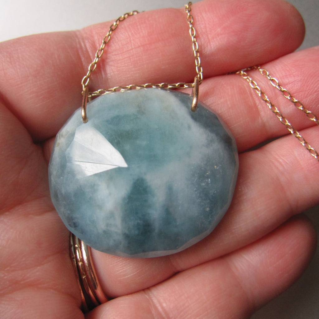 large natural aquamarine pendant solid 14k gold necklace7