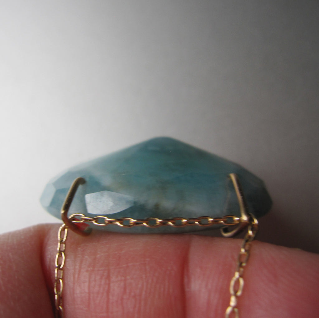 large natural aquamarine pendant solid 14k gold necklace8