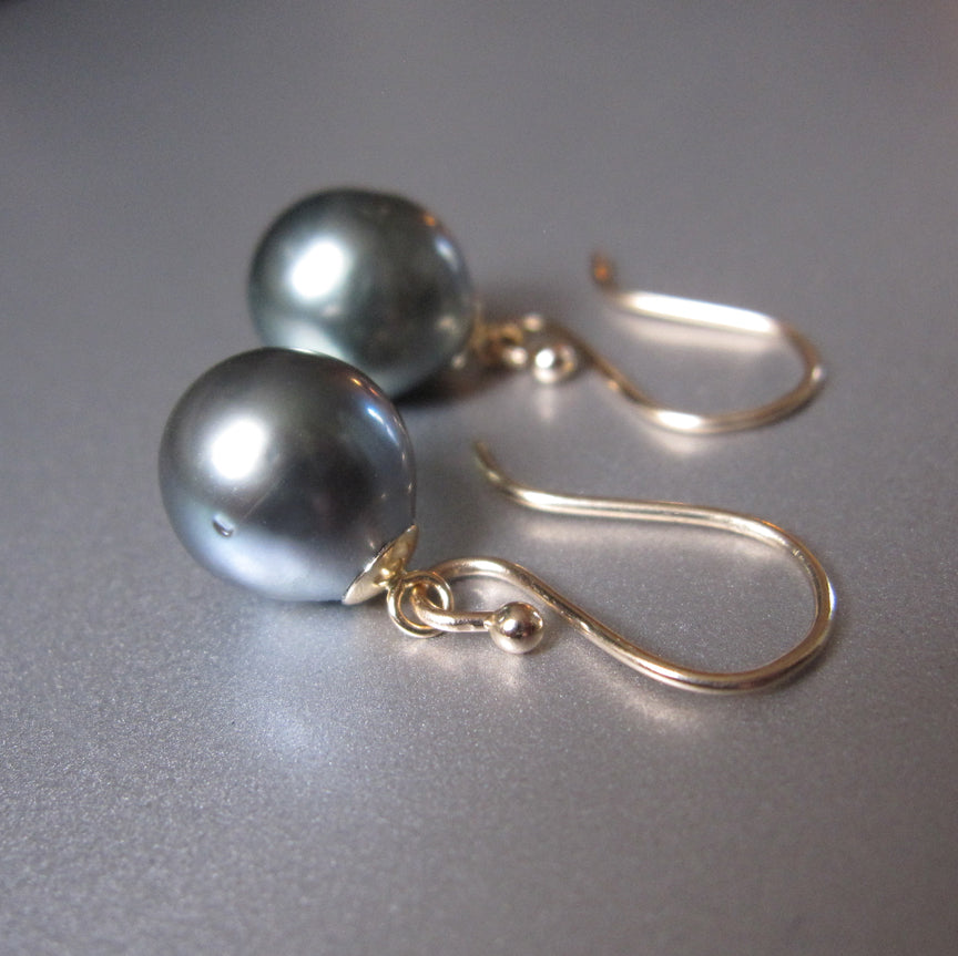 gray tahitian pearl drops solid 14k gold earrings