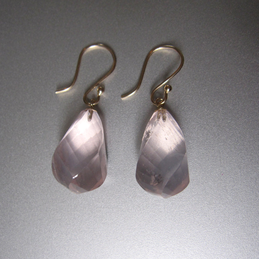 Large Twisted Faceted Rose Quartz Drops Solid 14k Gold Earrings4