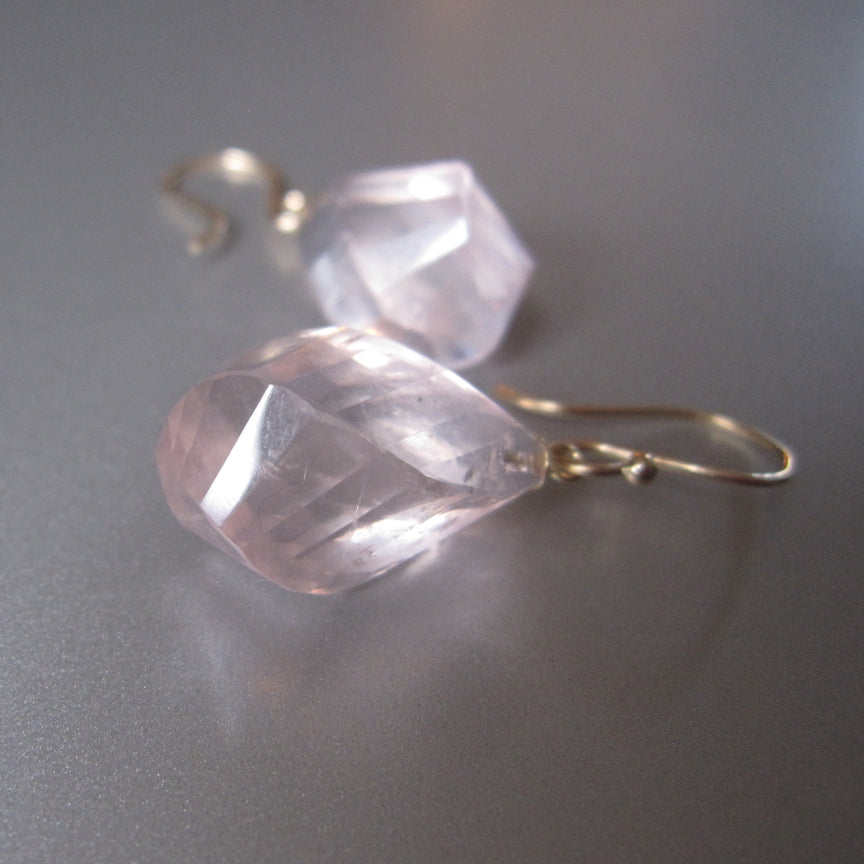 Large Twisted Faceted Rose Quartz Drops Solid 14k Gold Earrings2