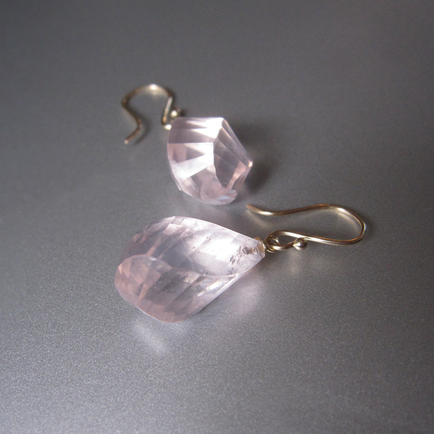 Large Twisted Faceted Rose Quartz Drops Solid 14k Gold Earrings5