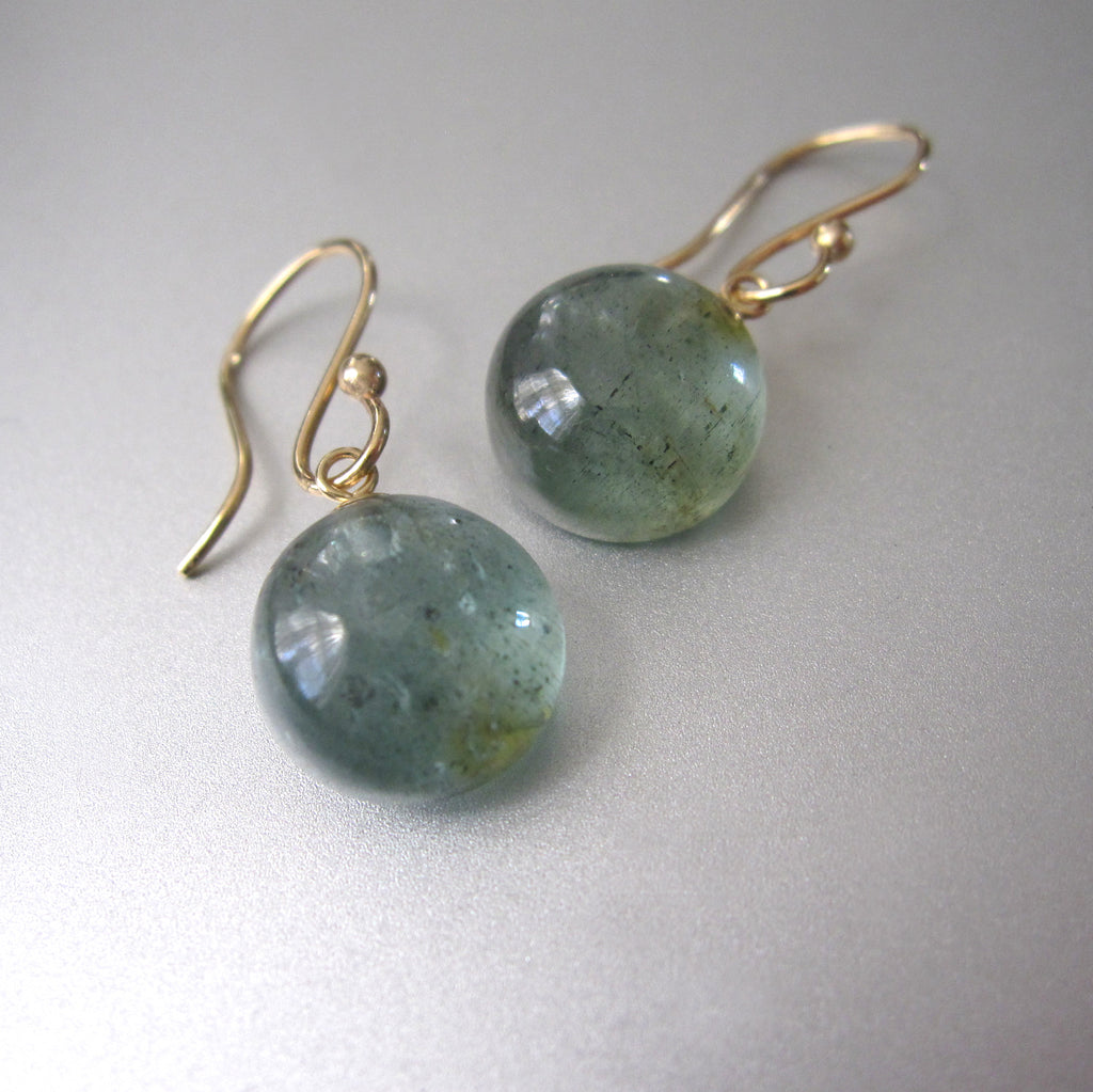 small moss aquamarine button drops solid 14k gold earrings