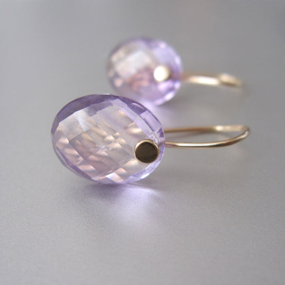 Small Amethyst Ovals Solid 14k Gold Earrings