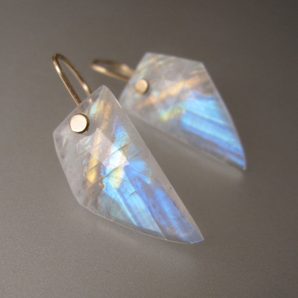 rainbow moonstone angular wing slices solid 14k gold earrings