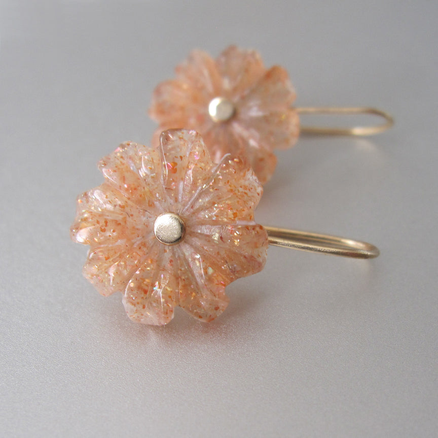sunstone carved flowers solid 14k gold earrings