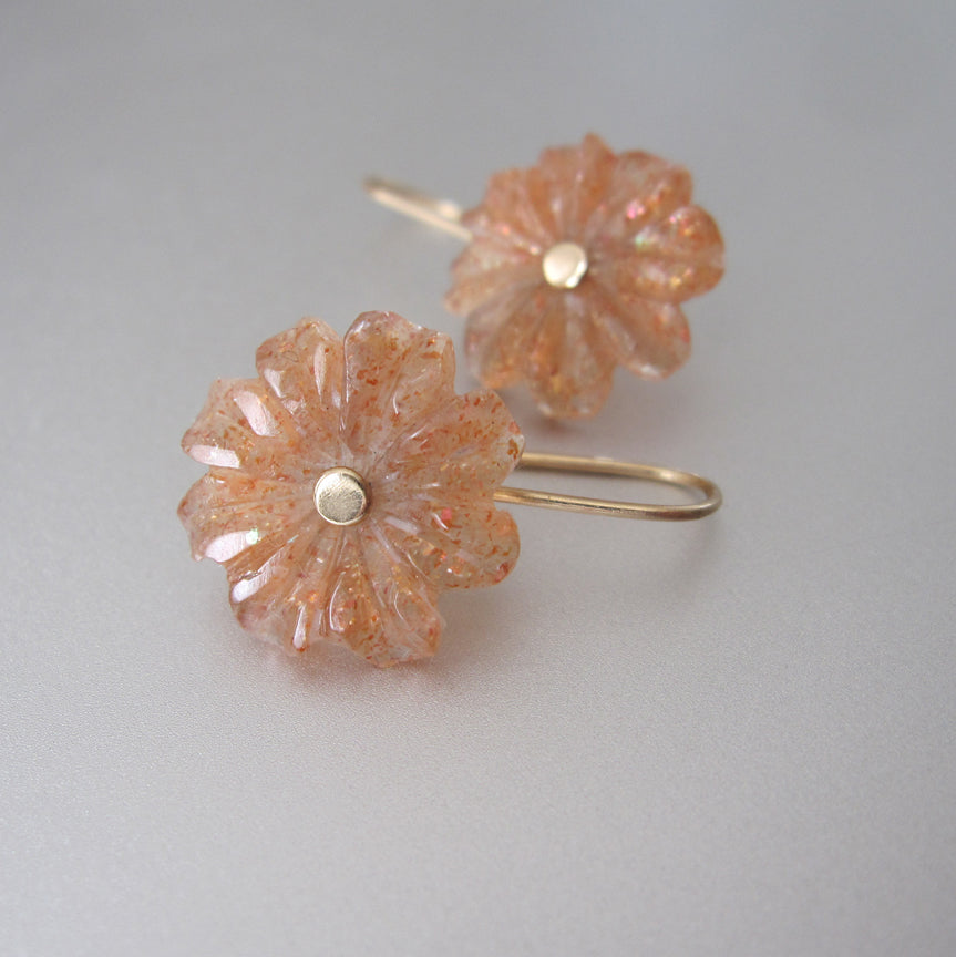 sunstone carved flowers solid 14k gold earrings2