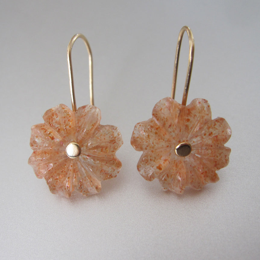 sunstone carved flowers solid 14k gold earrings3