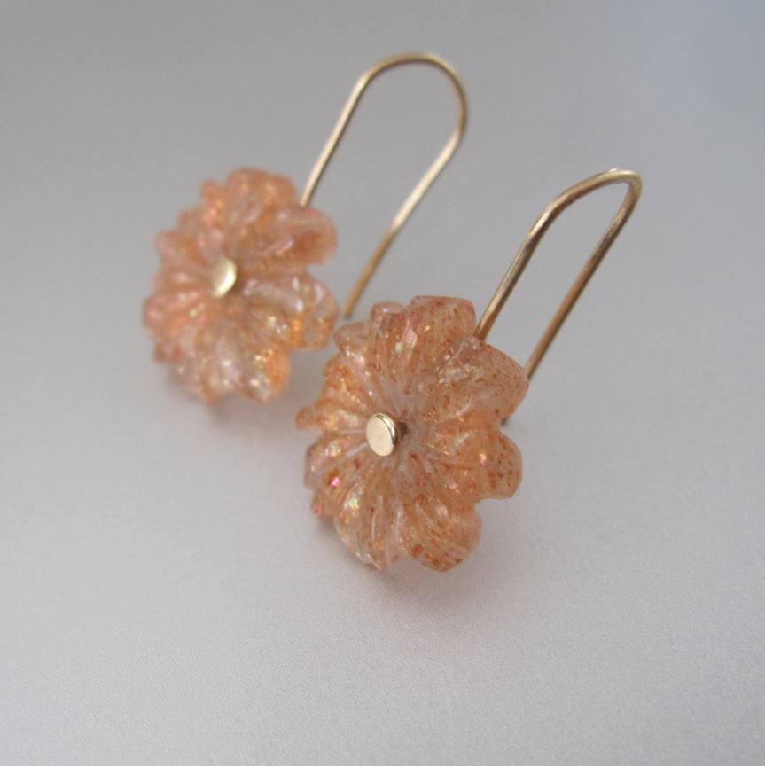 sunstone carved flowers solid 14k gold earrings4