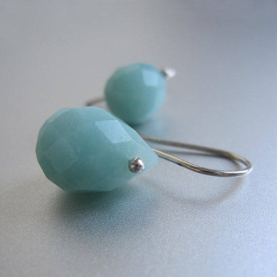 Amazonite Faceted Drops Sterling Silver Earrings