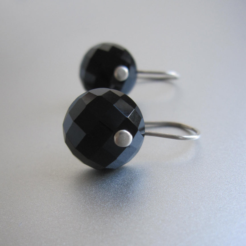 faceted black onyx button sterling silver earrings