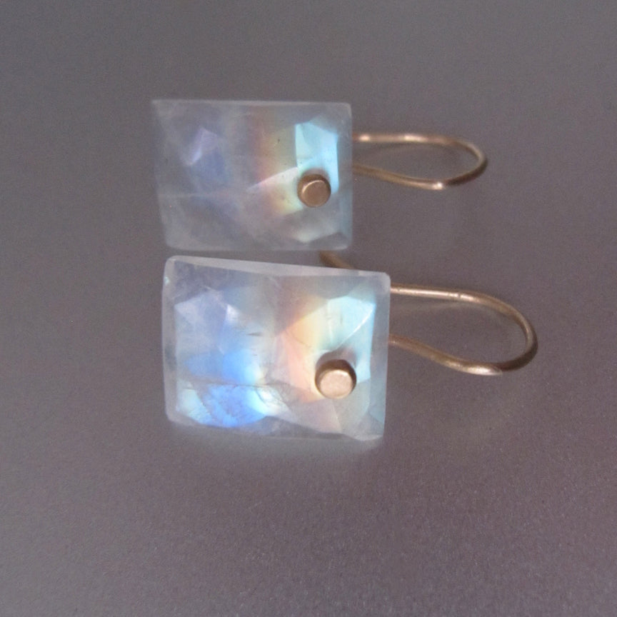 small rainbow moonstone cushion drops solid 14k gold earrings3
