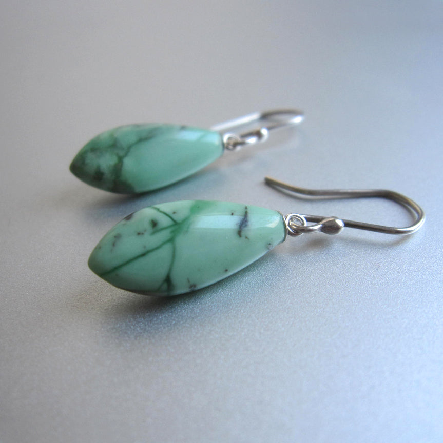 blue green variscite pointed drops sterling silver earrings