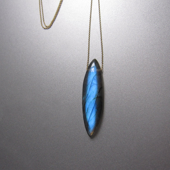 Blue Labradorite Marquise Long Drop Solid 14k Gold Necklace