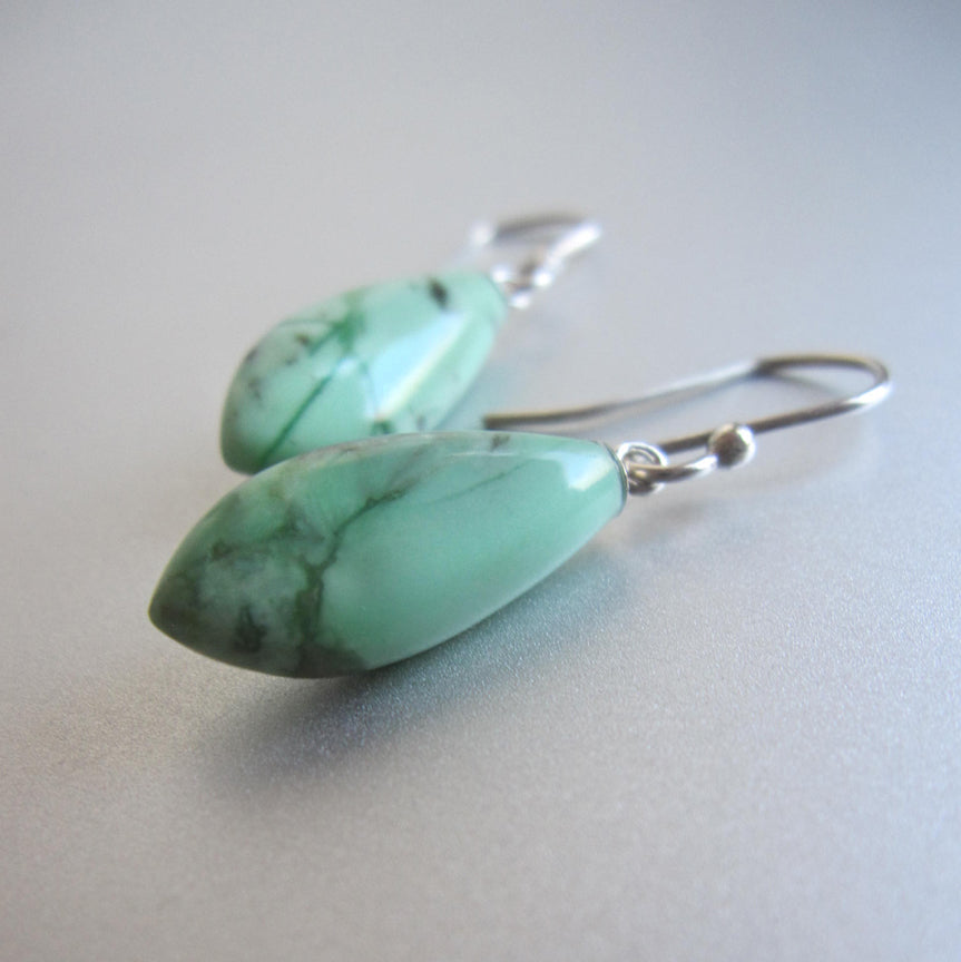 variscite turquoise green pointed drops sterling silver earrings